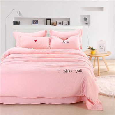 夏季裸睡水洗棉四件套床单被套1.8m床上用品单人床学生宿舍三件套