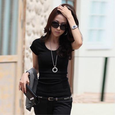 【莫代尔短袖t恤】夏韩版修身显瘦t恤弹力纯色莫代尔短袖打底衫女