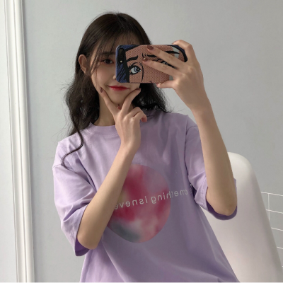 韩国ins紫色闺蜜印花原宿风bf短袖宽松百搭t恤女学生ulzzang半袖