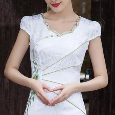 日常改良旗袍连衣裙女短款显瘦2018夏新品短袖修身复古民国风旗袍