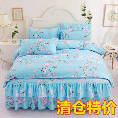 韩版床裙床罩式4四件套公主风1.8/2.0m家纺床上用品
