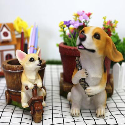 树脂仿真狗摆件家居饰品摆设小狗工艺品可爱客厅创意笔筒礼物