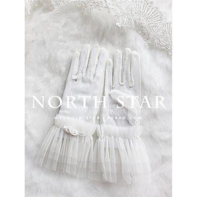 201新款高档新娘结婚婚纱礼服配件复古蕾丝夏季薄款防晒短款手套