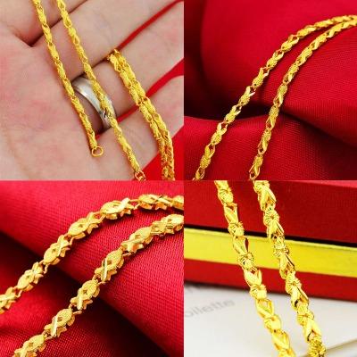 不褪色四叶草小金鱼镀金项链女锁骨链越南沙金项链黄金色饰品礼物