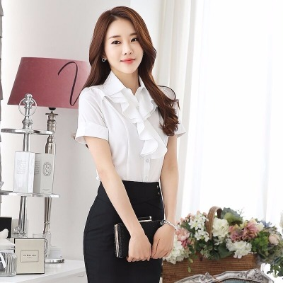 春夏新款韩版荷叶花边白色短袖衬衫女 职业装修身OL大码短袖衬衣