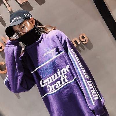紫色卫衣女春秋加绒宽松bf风韩版潮学生ulzzang街头嘻哈少女外套