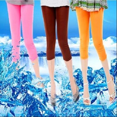 【一、二条装可选】2018夏季糖果色冰丝七分裤女透气打底裤女装
