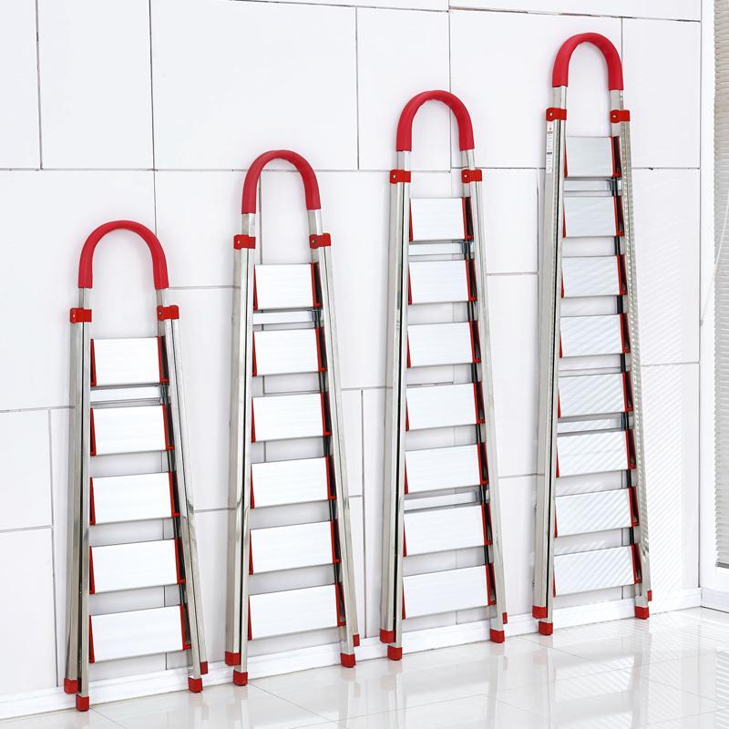 家用不锈钢折叠梯子八步九步梯加厚人字梯室内工程楼梯移动阁楼梯