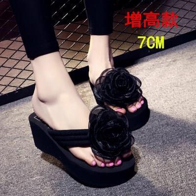 坡跟拖鞋女夏时尚夹拖外穿韩版夹趾人字拖高跟花朵松糕防滑沙滩鞋