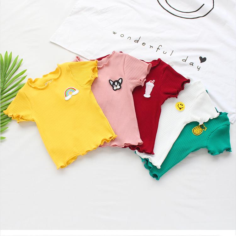 新款韩版女童宝宝夏季百搭短袖t恤70%棉木耳边弹力坑条1-4岁