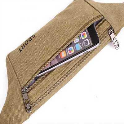 韩版时尚帆布手机腰包休闲运动隐形防盗贴身男女腰包旅游骑行背包